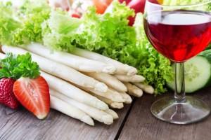 Wine and vegetarian.